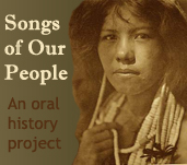 Native American woman and link to Songs of Our People project